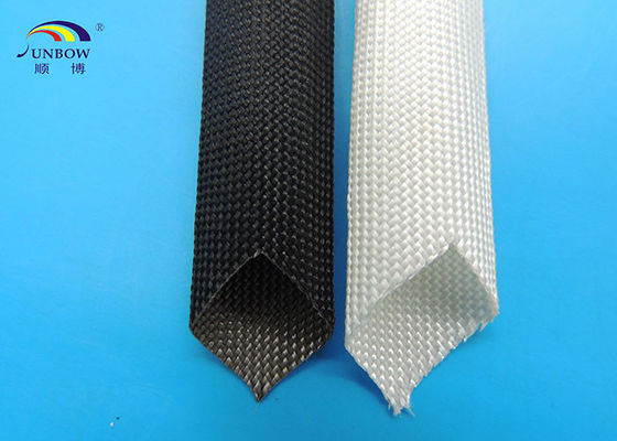 Braided High Temperature Fiberglass Sleeving , Electric Cable Protection Sleeve