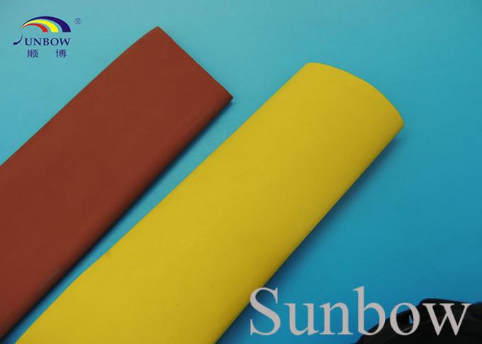 2/1 1KV Polyolefin Heat Shrink Tubing Bus Bar Protecting Sleeve , Brown Yellow
