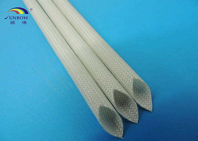 White Color Silicone Resin glassfiber sleeving For Automotive ...